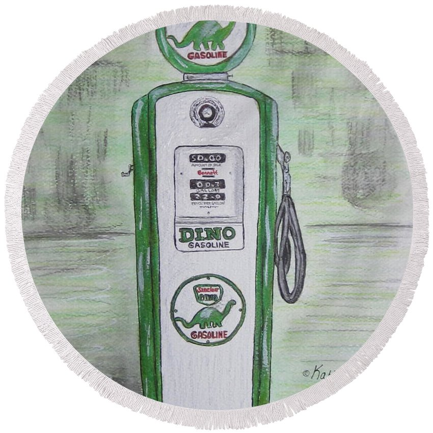 Dino Round Beach Towel featuring the painting Dino Sinclair Gas Pump by Kathy Marrs Chandler