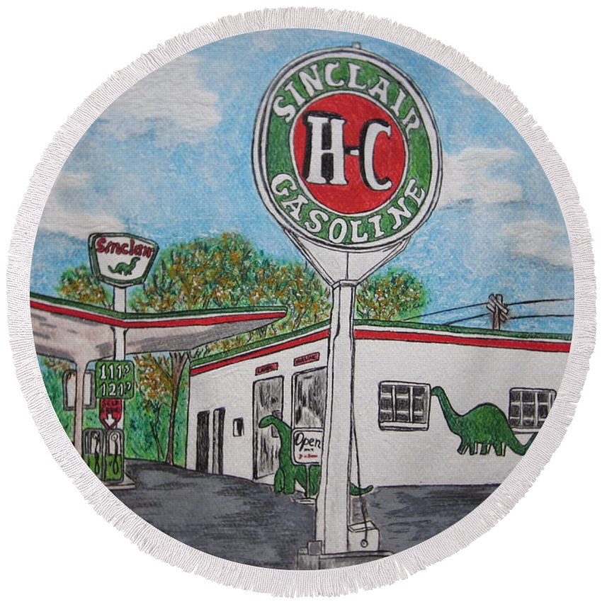 Dino Round Beach Towel featuring the painting Dino Sinclair Gas Station by Kathy Marrs Chandler