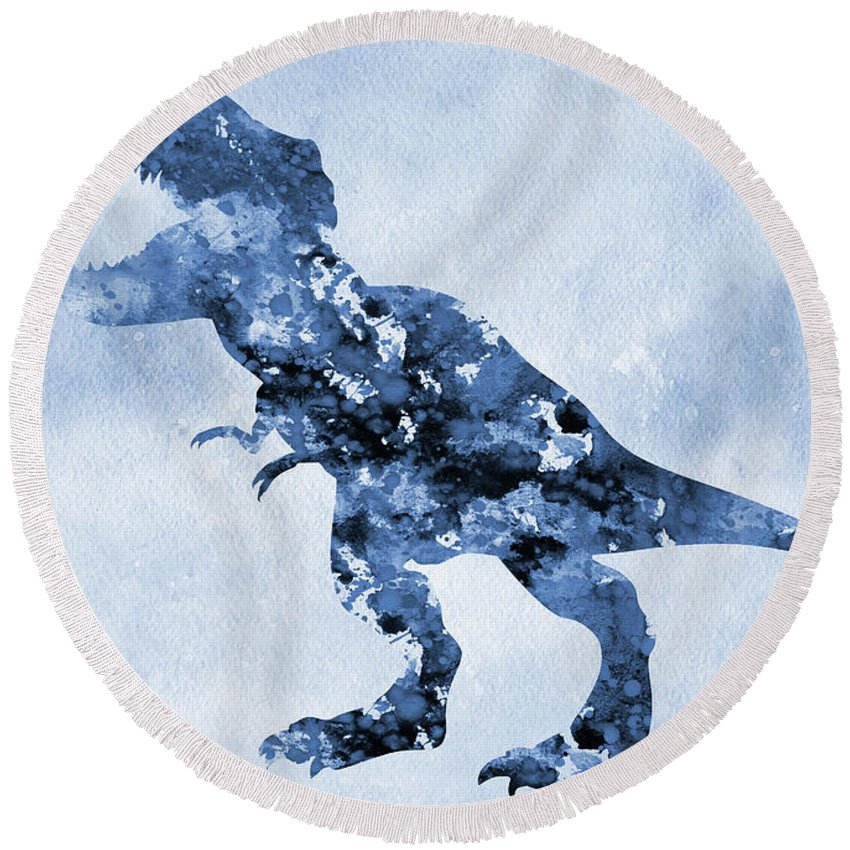 Dinosaur Rex Round Beach Towel featuring the digital art Dinosaur Rex-blue by Erzebet S