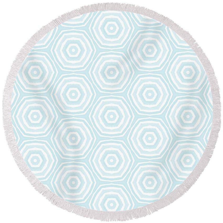 Circles Round Beach Towel featuring the digital art Dip In The Pool - Pattern Art By Linda Woods by Linda Woods