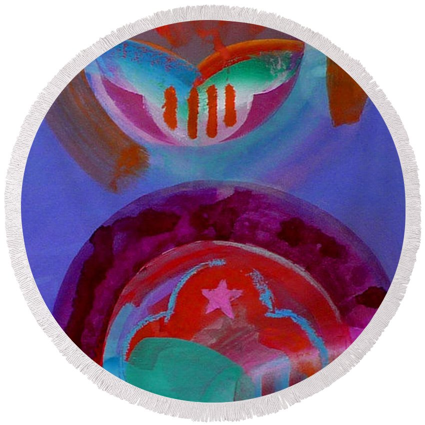Logo Round Beach Towel featuring the painting Diptych by Charles Stuart
