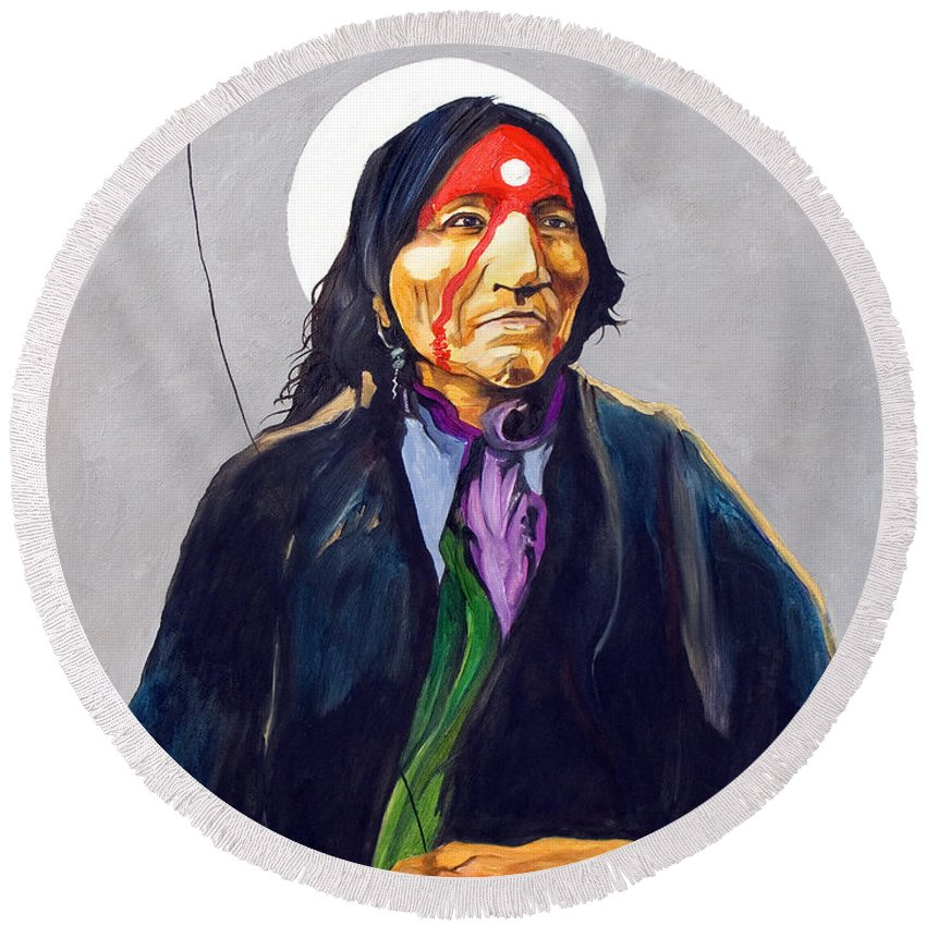 Shaman Round Beach Towel featuring the painting Direct Connect by J W Baker