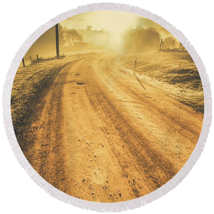 Sunrise Round Beach Towel featuring the photograph Dirt Road Sunrise by Jorgo Photography - Wall Art Gallery