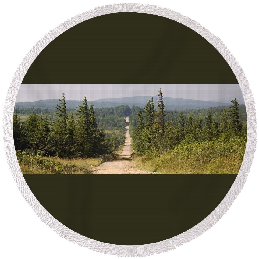 Dirt Road Dolly Sods West Virginia Appalachian Mountain Landscape Images Photgraph Prints Nature Great Outdoors Wilderness Wind Blown Pine Trees Blue Ridge Mountain Prints Round Beach Towel featuring the photograph Dirt Road To Dolly Sods by Joshua Bales