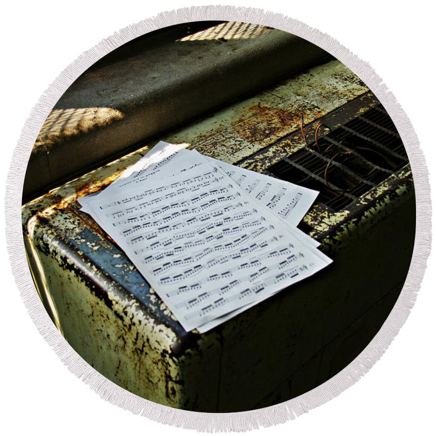 Music Round Beach Towel featuring the photograph Discarded Notes by Scott Wyatt