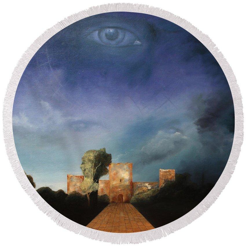 Disclosure Of The Hidden Round Beach Towel featuring the painting Disclosure Of The Hidden by Darko Topalski
