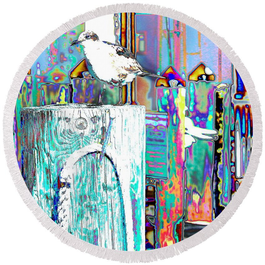 Seagull Sits On A Wharf Pilling In Key West  Round Beach Towel featuring the digital art Disco Dock Seagull by Expressionistart studio Priscilla Batzell