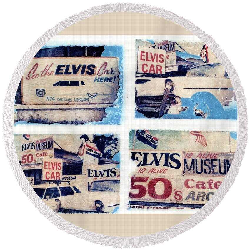 Elvis Round Beach Towel featuring the photograph Disgraceland by Jane Linders