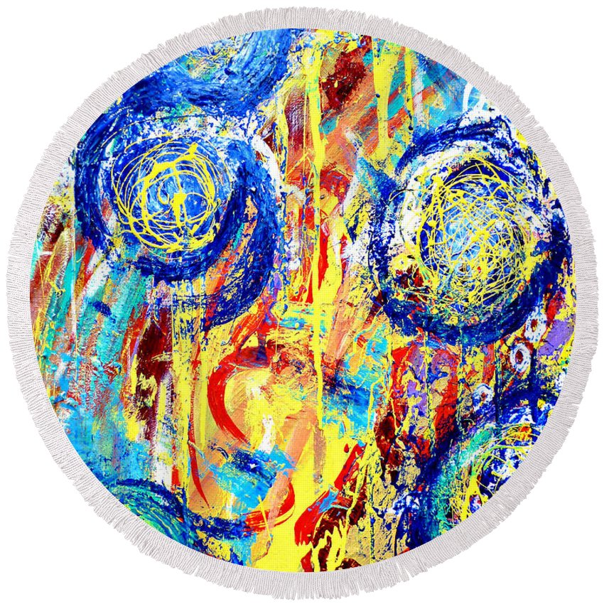 Blue Round Beach Towel featuring the painting Disintegrated Element by Larry Calabrese