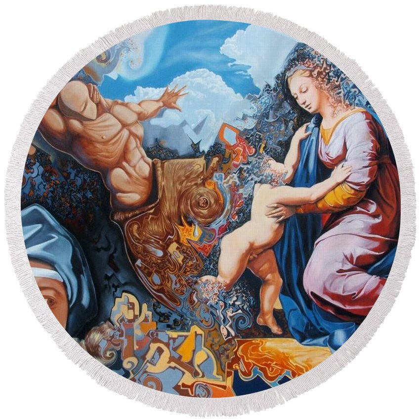 Surrealism Round Beach Towel featuring the painting Disintegration Of The Old Ancient World by Darwin Leon