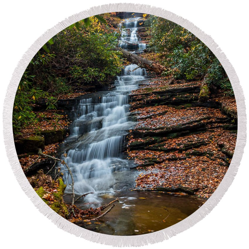 Dismal Falls Round Beach Towel featuring the photograph Dismal Falls In Autumn by Chris Berrier