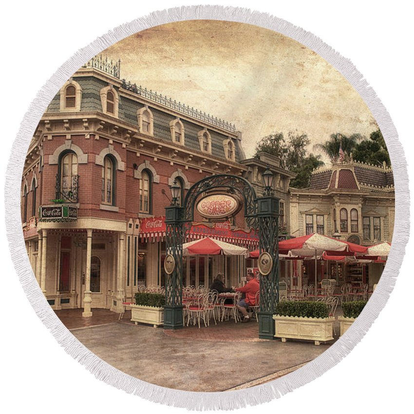 Disney Round Beach Towel featuring the photograph Disneyland Corner Cafe Pa Textured by Thomas Woolworth