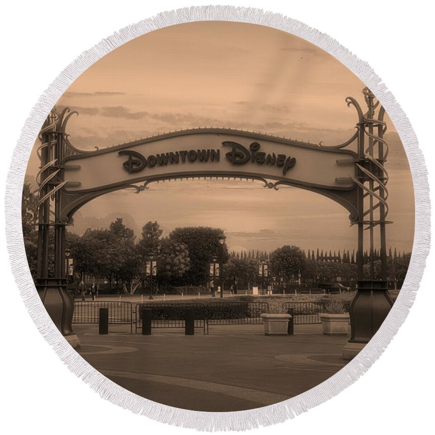 Disney Round Beach Towel featuring the mixed media Disneyland Downtown Disney Signage Sepia by Thomas Woolworth