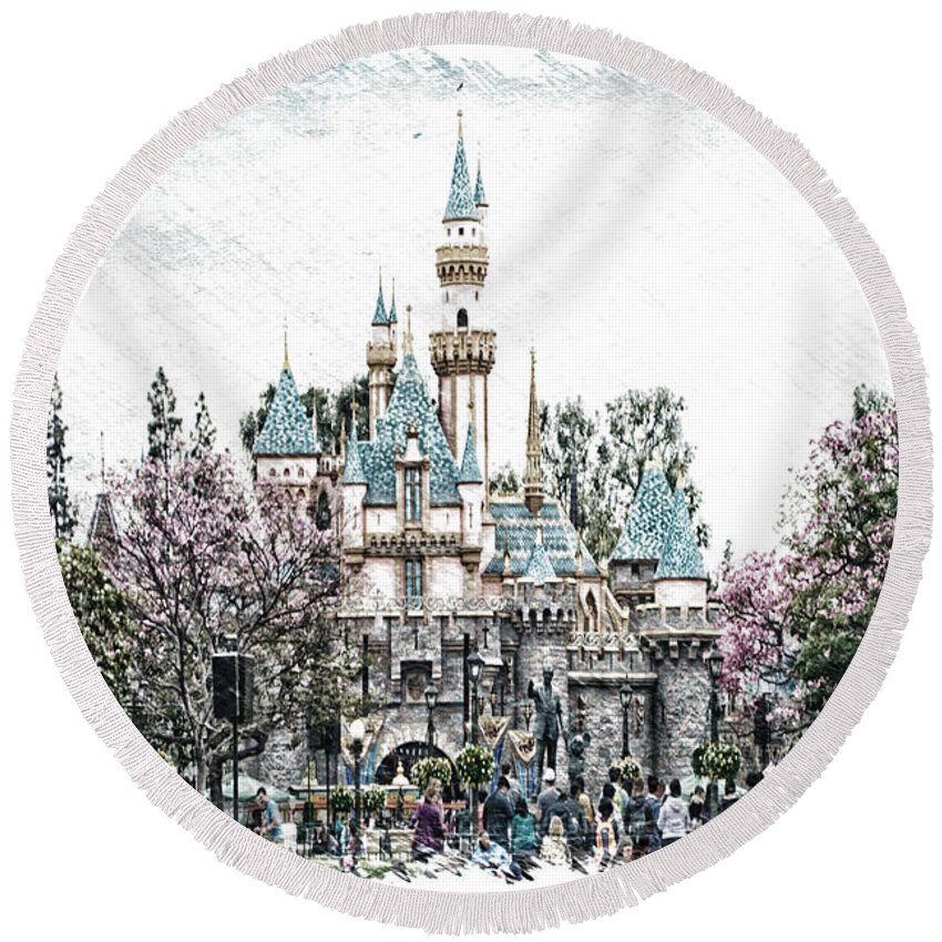 Disney Round Beach Towel featuring the photograph Disneyland Sleeping Beauty Castle Pa by Thomas Woolworth