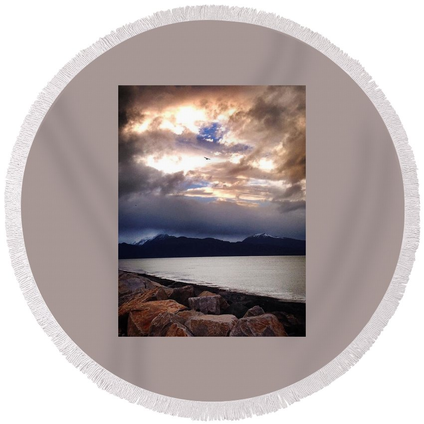 Seascape Round Beach Towel featuring the photograph Display Of His Splender by Jacque Lenew