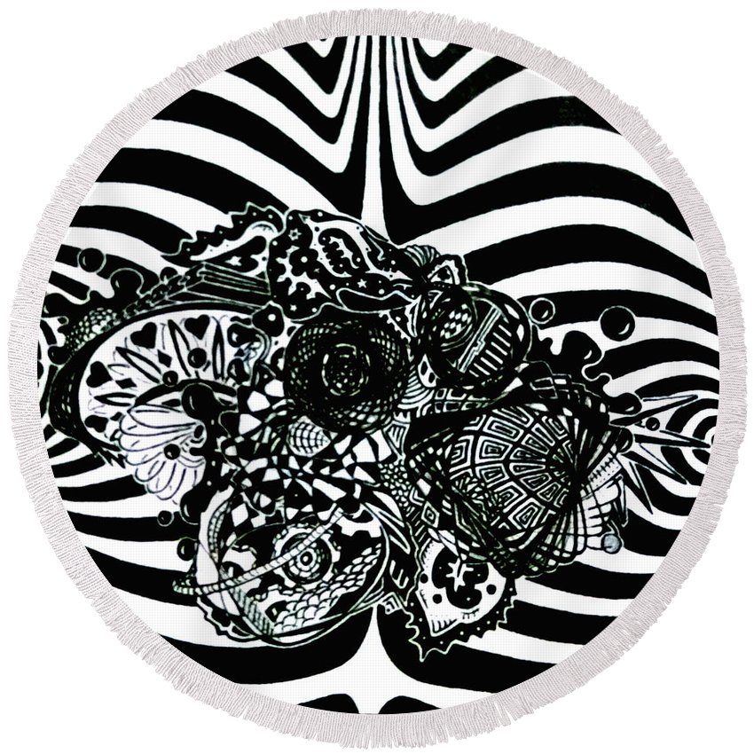 Pen And Ink Round Beach Towel featuring the drawing Disquietude by Red Gevhere