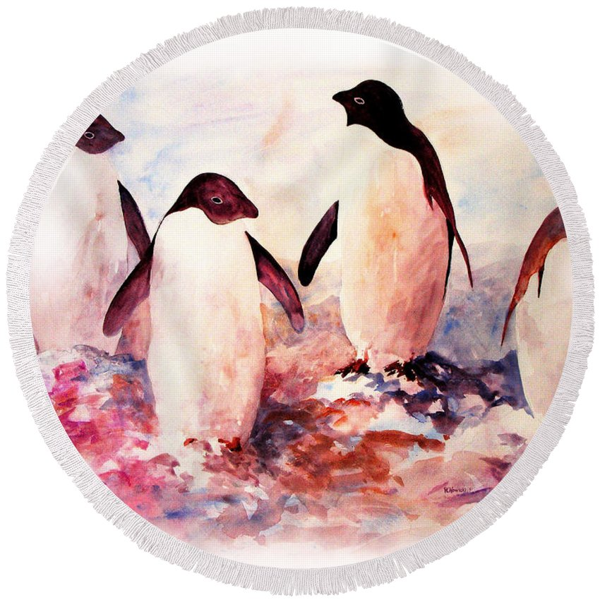 Penguins Round Beach Towel featuring the painting Dissident by Rachel Christine Nowicki