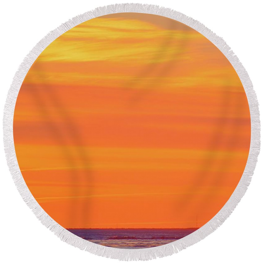 Abstract Round Beach Towel featuring the photograph Distant Cell Towers At Sunrise  by Lyle Crump
