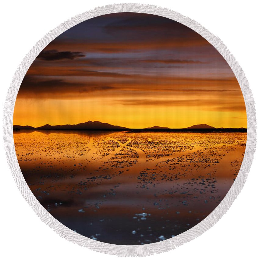 Salar De Uyuni Round Beach Towel featuring the photograph Distant Hills At Sunset by James Brunker