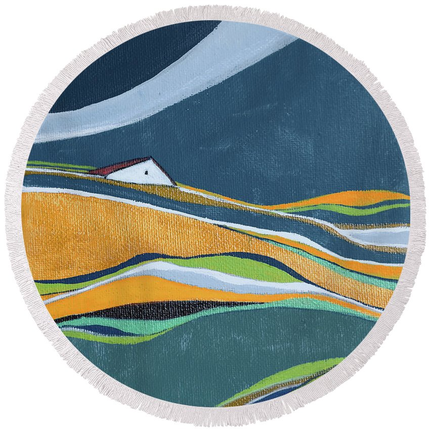 Abstract Round Beach Towel featuring the painting Distant House by Aniko Hencz