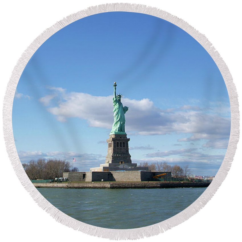 Statue Of Liberty Round Beach Towel featuring the photograph Distant Liberty New York by Christal Randolph