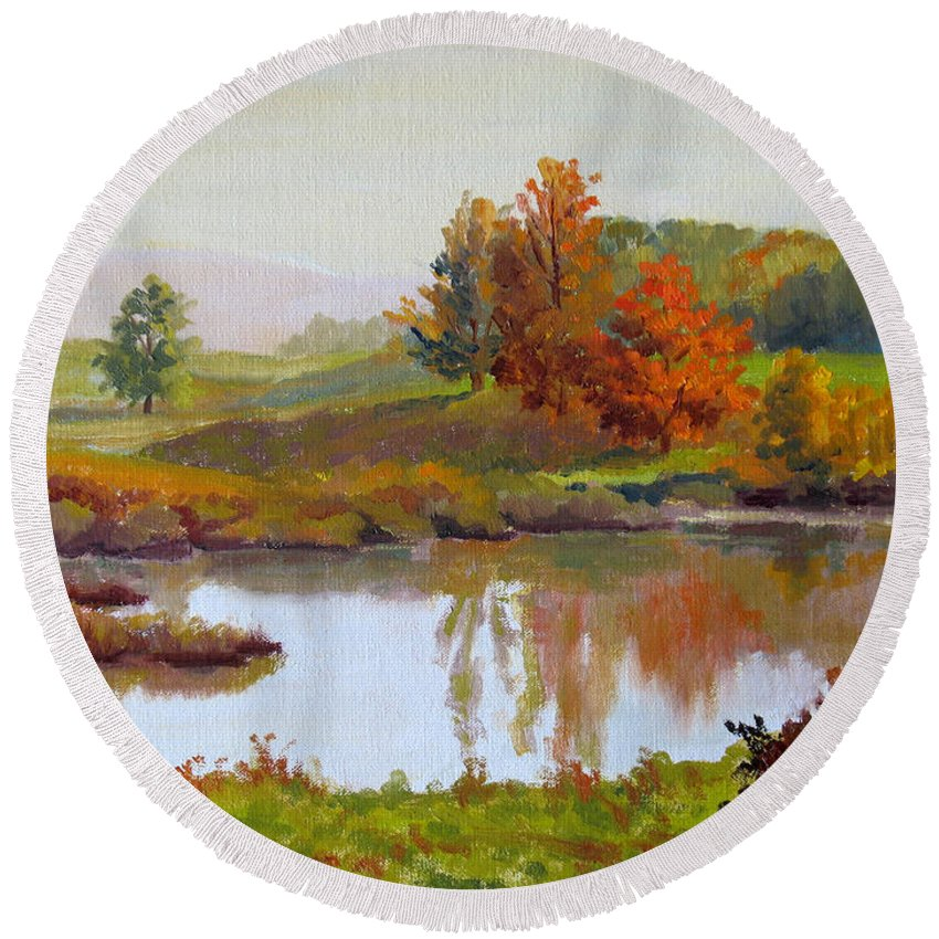 Landscape Round Beach Towel featuring the painting Distant Maples by Keith Burgess