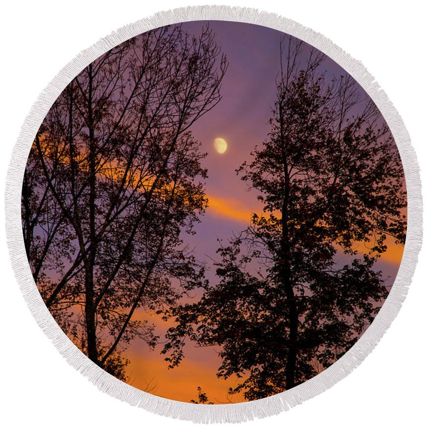 Clouds Of Fire Round Beach Towel featuring the photograph Distant Moon by Karol Livote