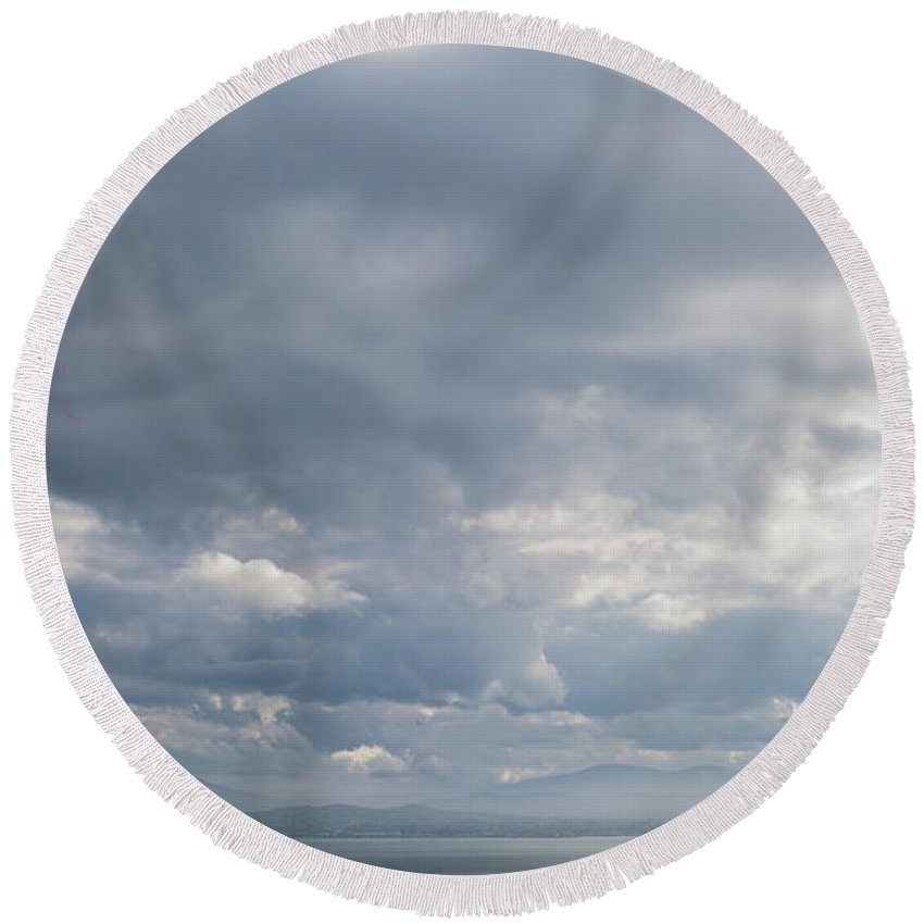 50mm Round Beach Towel featuring the photograph Distant Silhouette by Anton Lucic