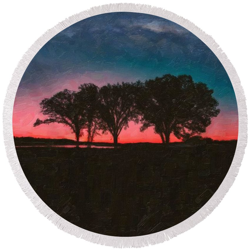 Nature Round Beach Towel featuring the painting Distant Trees Under Milkyway Horizon By Adam Asar 3 by Adam Asar