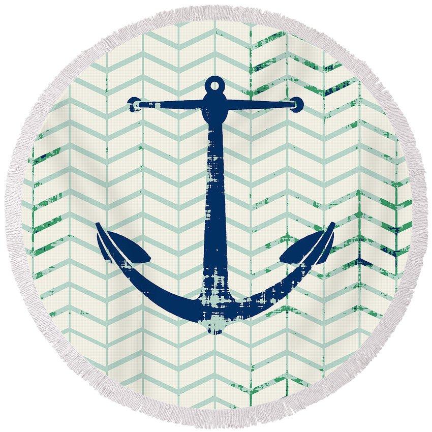 Brandi Fitzgerald Round Beach Towel featuring the digital art Distressed Navy Anchor v2 by Brandi Fitzgerald
