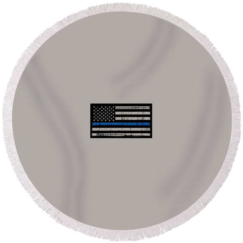 Thin Blue Line Round Beach Towel featuring the photograph Distressed Thin Blue Line by Police