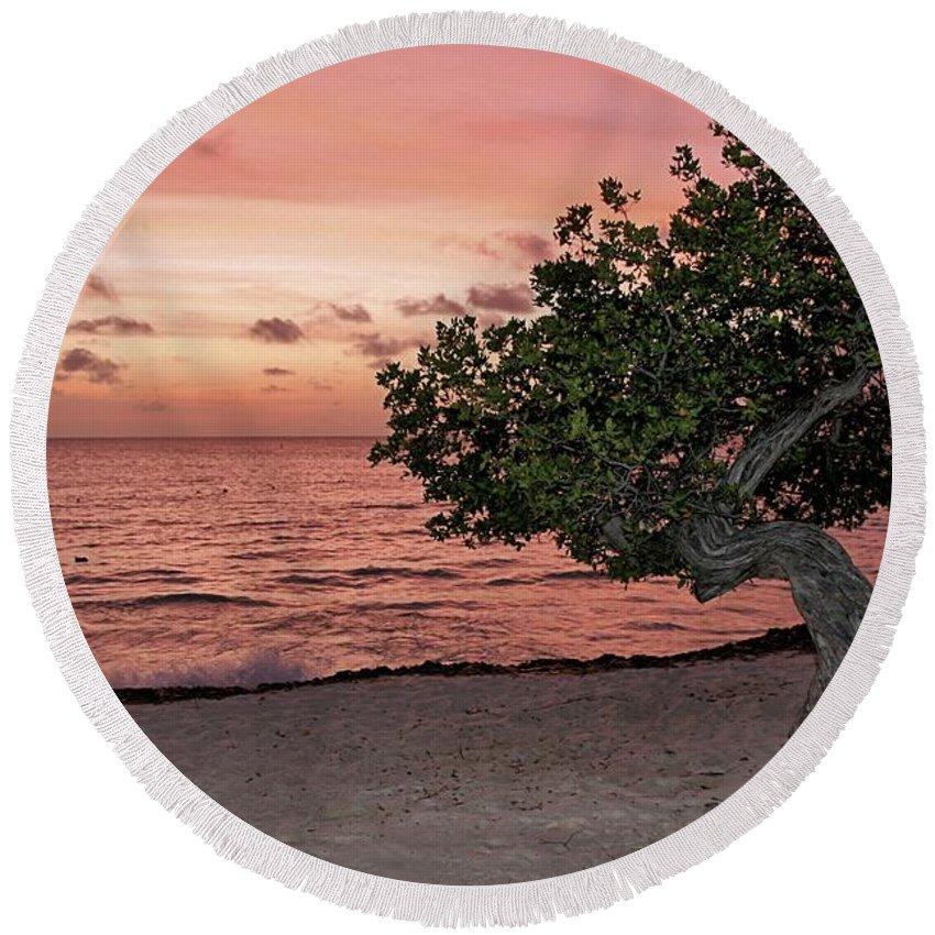 Aruba Round Beach Towel featuring the photograph Divi Divi Aruba by DJ Florek