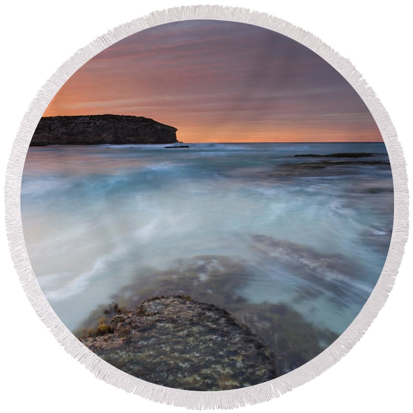Dawn Round Beach Towel featuring the photograph Divided Tides by Mike Dawson