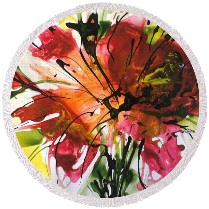 Flowers Round Beach Towel featuring the painting Divine Blooms-21082 by Baljit Chadha