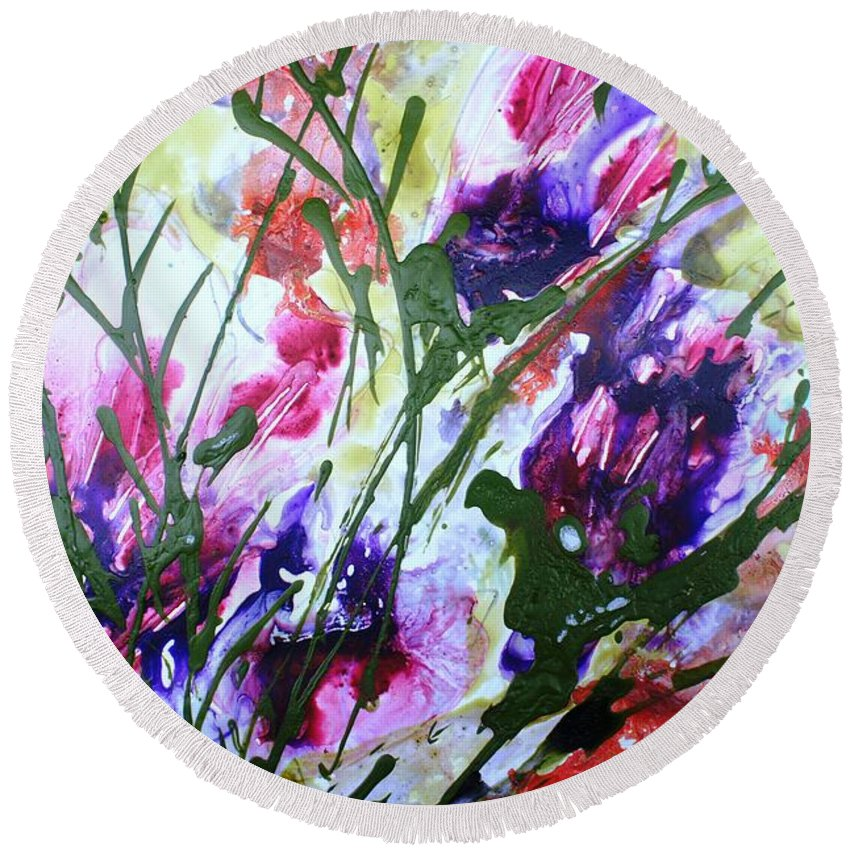 Flowers Round Beach Towel featuring the painting Divine Blooms-21176 by Baljit Chadha
