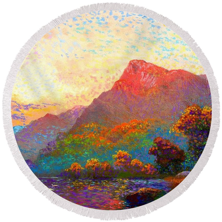 Meditation Round Beach Towel featuring the painting Buddha Meditation, Divine Light by Jane Small