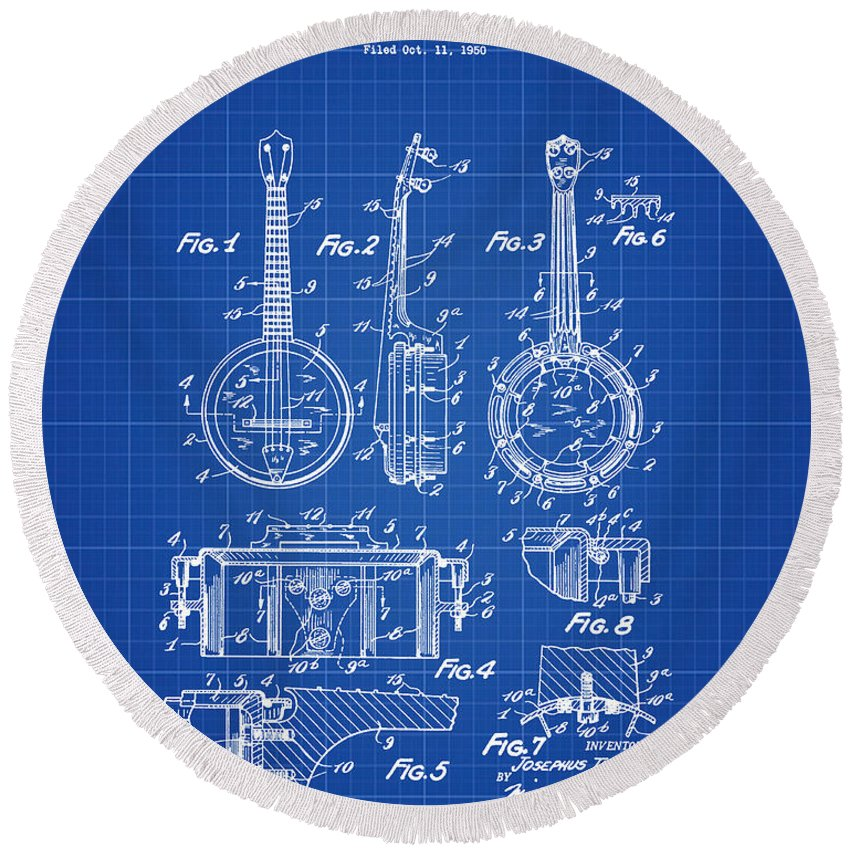 Dixie Round Beach Towel featuring the digital art Dixie Banjolele Patent 1954 In Blue Print by Bill Cannon