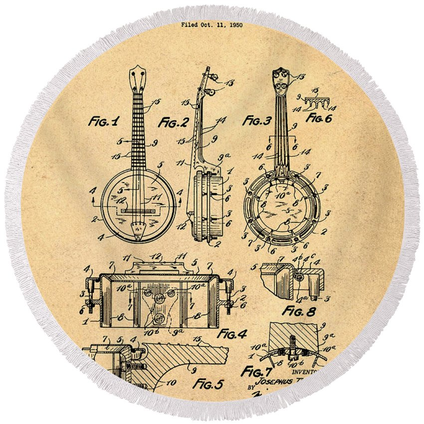 Dixie Round Beach Towel featuring the digital art Dixie Banjolele Patent 1954 In Sepia by Bill Cannon