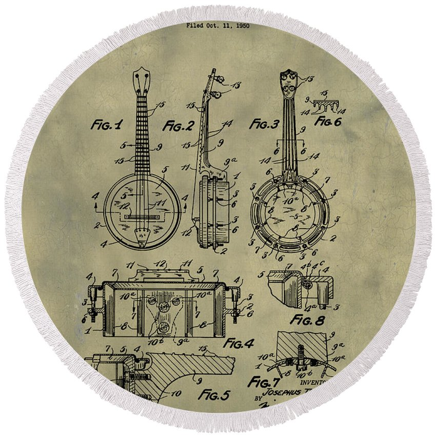 Dixie Round Beach Towel featuring the digital art Dixie Banjolele Patent 1954 In Weathered by Bill Cannon