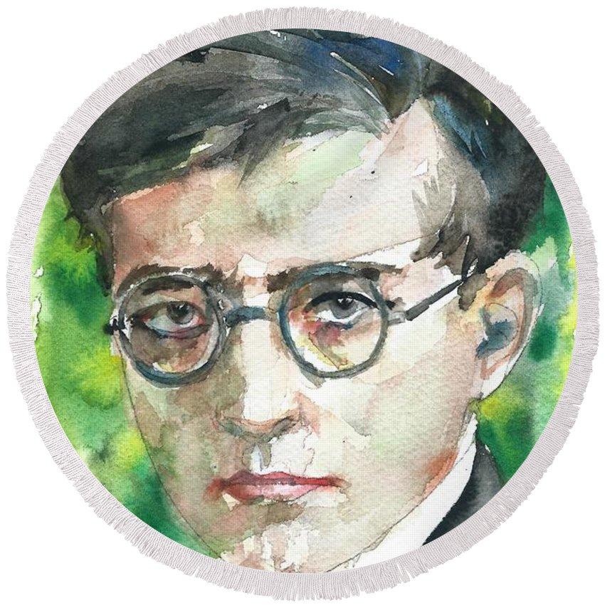 Dmitri Shostakovich Round Beach Towel featuring the painting Dmitri Shostakovich - Watercolor Portrait.1 by Fabrizio Cassetta