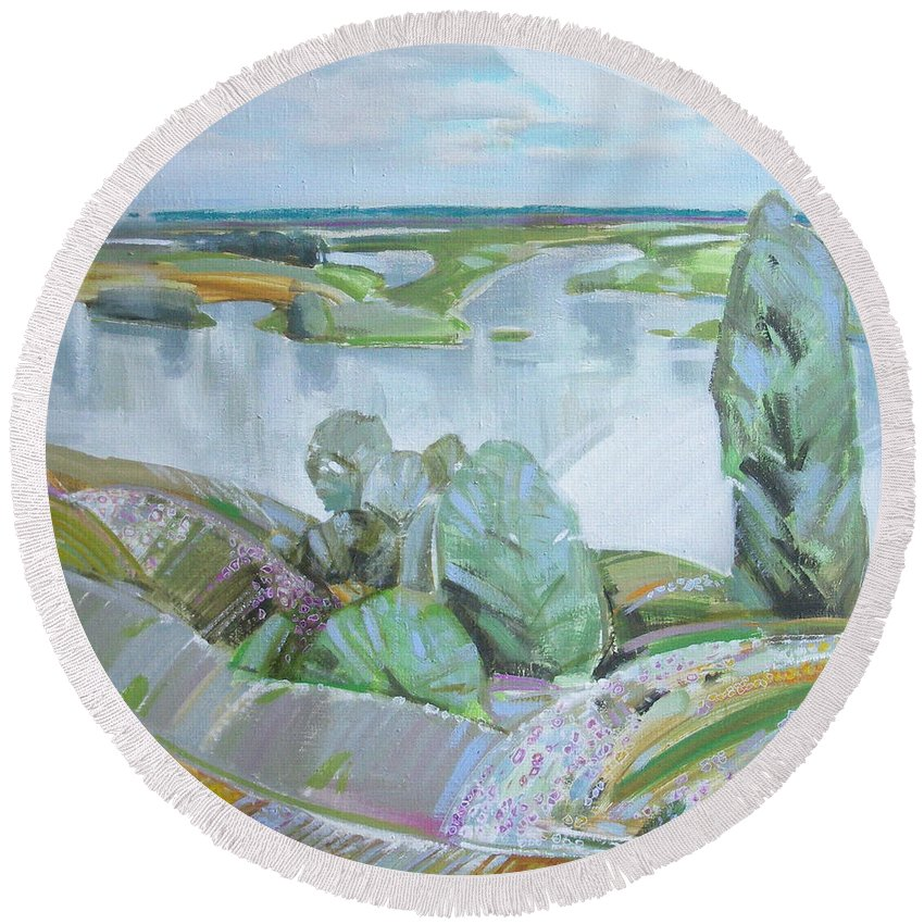 Landscape Round Beach Towel featuring the painting Dnepro River by Sergey Ignatenko