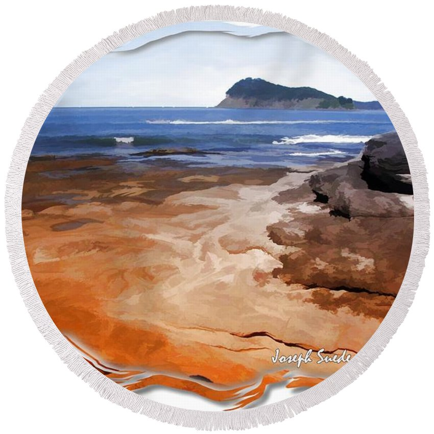 Beach Round Beach Towel featuring the photograph Do-00016 Pearl Beach by Digital Oil