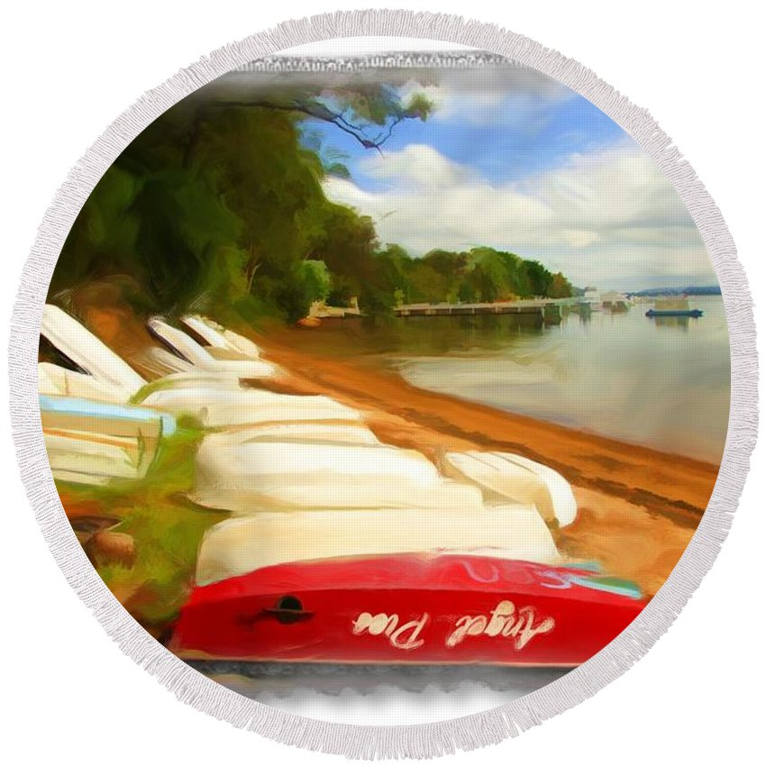 Tender Round Beach Towel featuring the photograph Do-00125 Tender Boats by Digital Oil