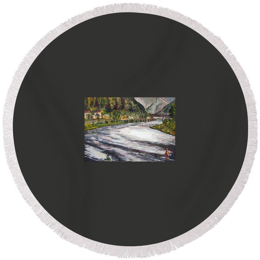 Landscape Round Beach Towel featuring the painting Do Nemecek by Pablo de Choros