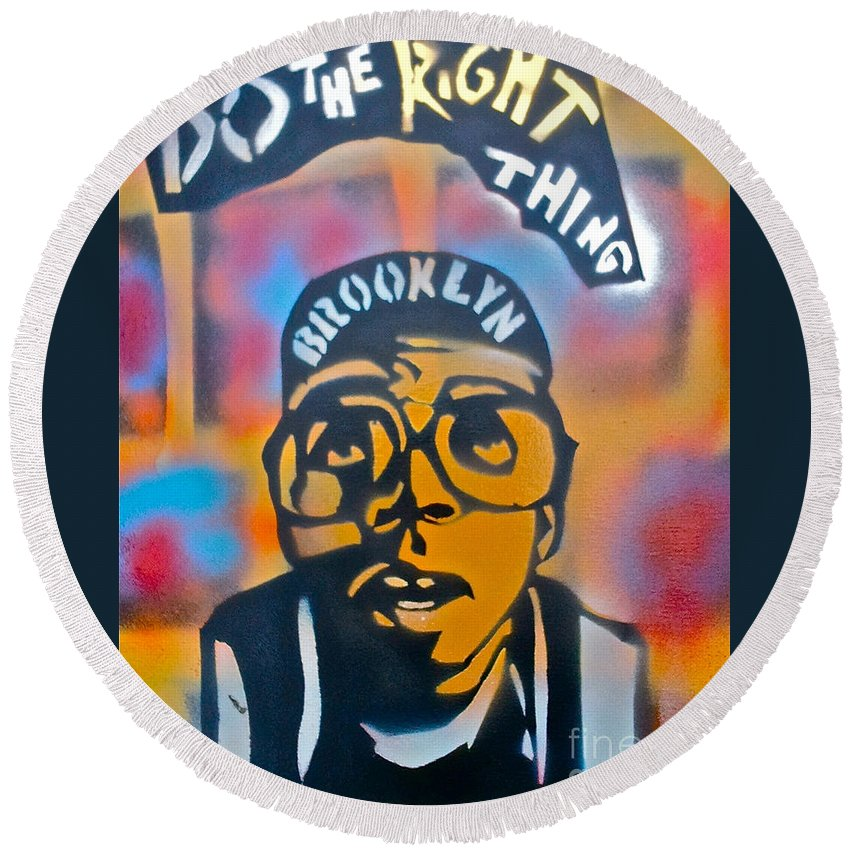 Spike Lee Round Beach Towel featuring the painting Do The Right Thing by Tony B Conscious