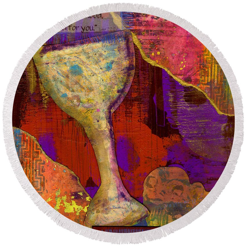 Wood Round Beach Towel featuring the mixed media Do This In Remembrance by Angela L Walker