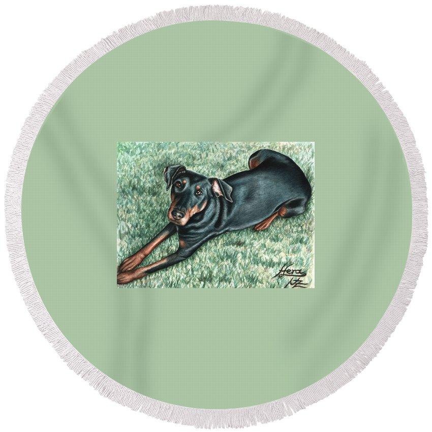 Dog Round Beach Towel featuring the painting Dobermann by Nicole Zeug