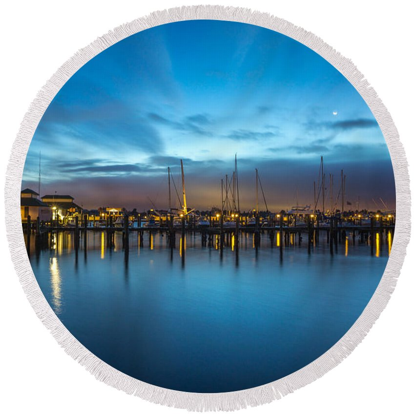 Naples Round Beach Towel featuring the photograph Dock At Dawn by Joey Waves