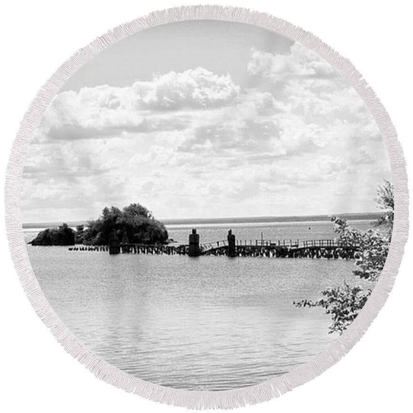 Collapse Round Beach Towel featuring the photograph Dock Down by Kendall Tabor