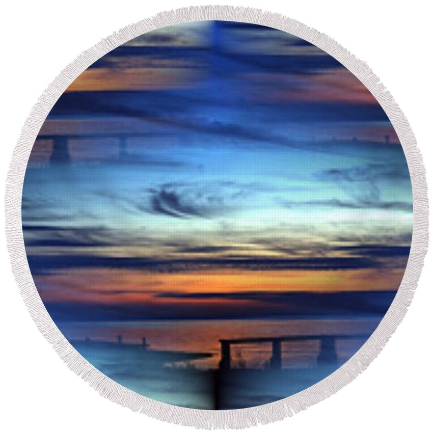 Dock Round Beach Towel featuring the photograph Dock Of The Bay by Tim Allen